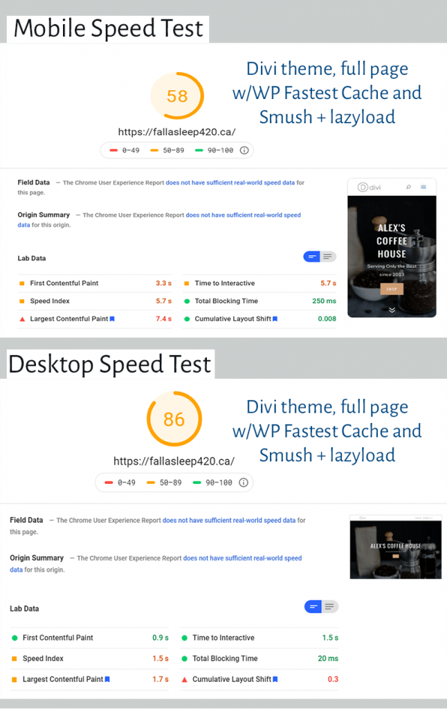 5cloudhost review page speed results for divi theme with fastest cache smush and lazyload