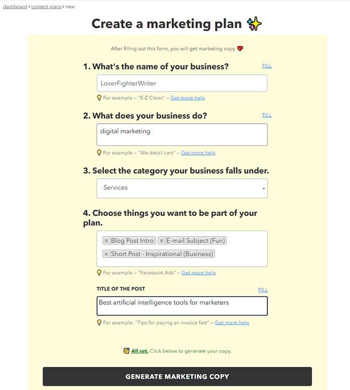 Create Marketing Plan nichesss