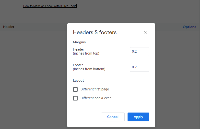 how to adjust headers and footers