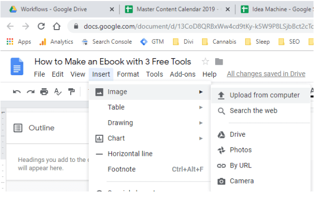 how to insert an image google docs