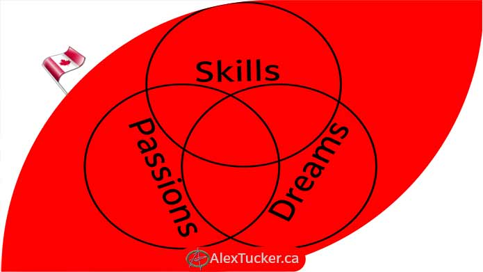 lists of skills passions dreams in connected circles