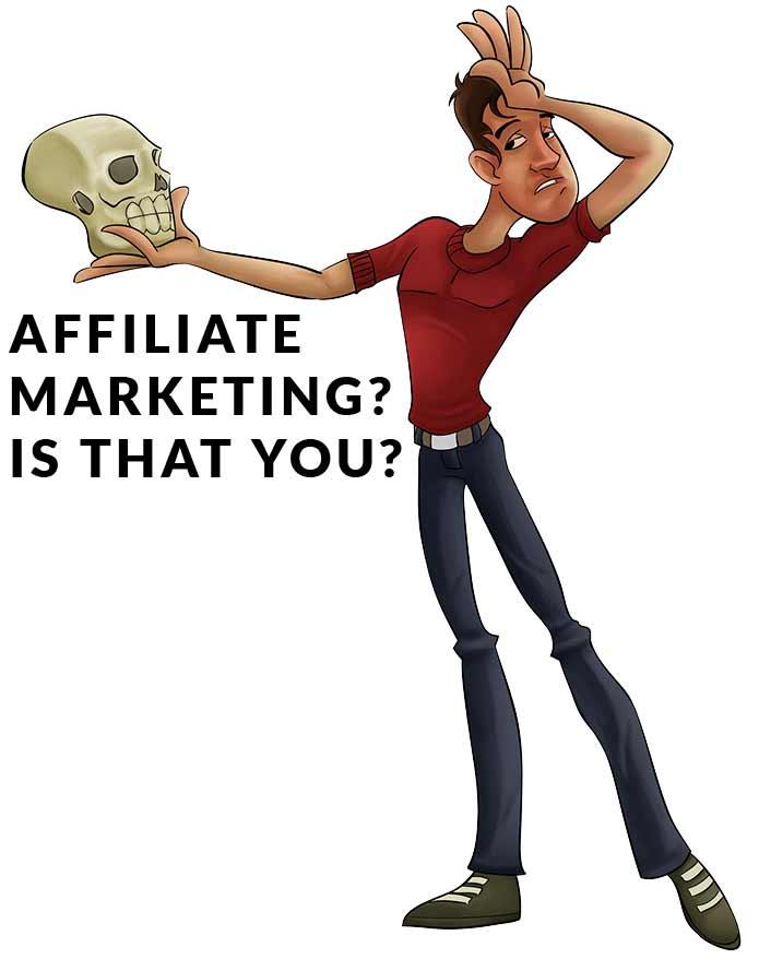 man talking to affiliate marketing skull