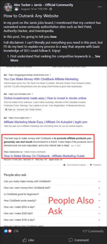 organic facebook post about seo