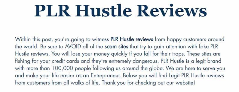 plr hustle reviews page