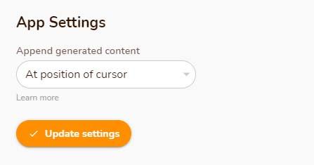 rytr settings